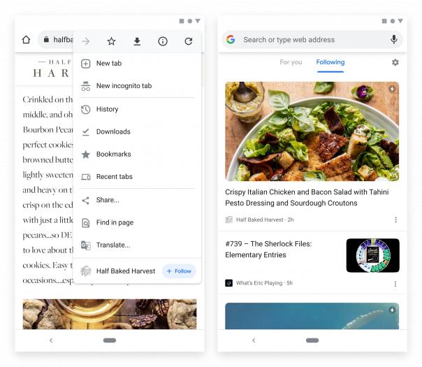 So könnte die Chrome-Follow-Funktion aussehen. (Bild: Google)