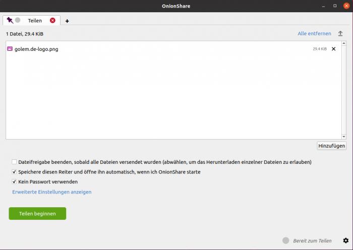 Passwortschutz, dauerhafte .onion-Domain oder mehrmaliges Downloaden können wir per Häkchen ein- oder ausstellen.(Screenshot: Moritz Tremmel/Golem.de)