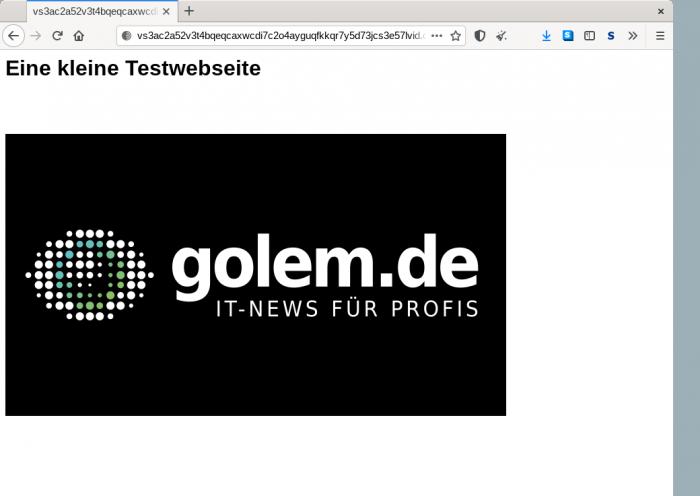 Die Webseite kann anschließend anonym über den Tor Browser abgerufen werden. (Screenshot: Moritz Tremmel/Golem.de)