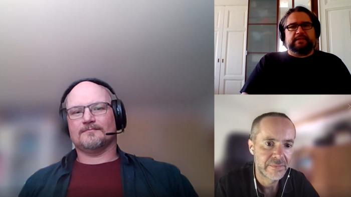 Ola Holmdahl (links), Nikolay Stefanov (rechts oben) und Golem.de-Redakteur Peter Steinlechner beim Online-Interview