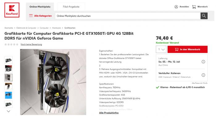 Diese Geforce GTX 1050 Ti ist ein Fake.  (Bild: Golem.de)