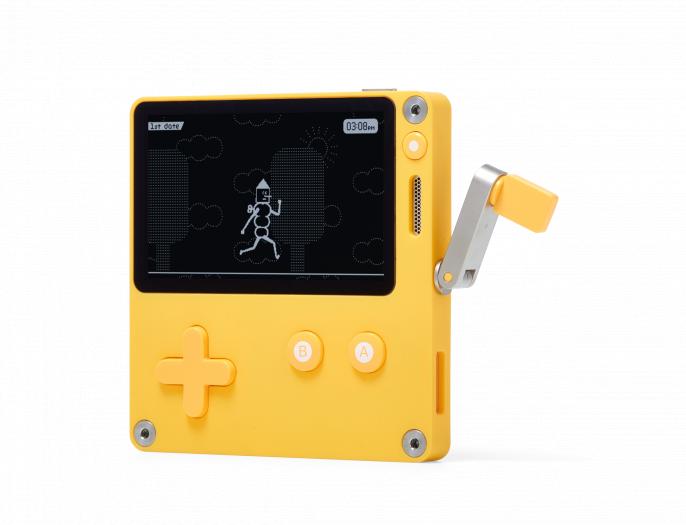 Das Gaming-Handheld Playdate hat eine Kurbel, mit der Spiele bedient werden können. (Bild: Panic)