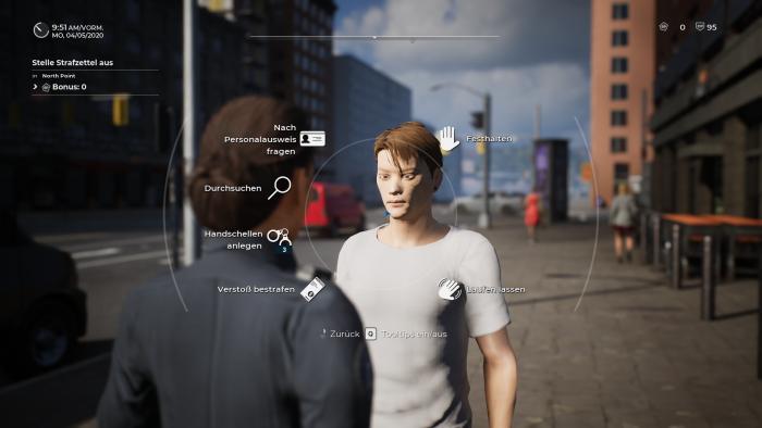 Die Interaktion mit Passanten erfolgt über ein Kreismenü. (Bild: Aesir Interactive/Screenshot: Golem.de)