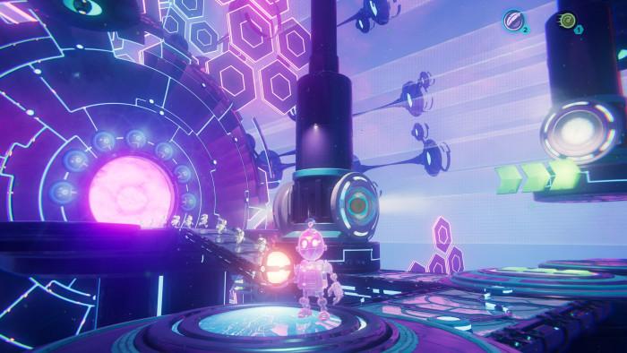 Clank muss in dieser Zwischendimension gelegentlich Rätsel lösen. (Bild: Sony / Screenshot: Golem.de)