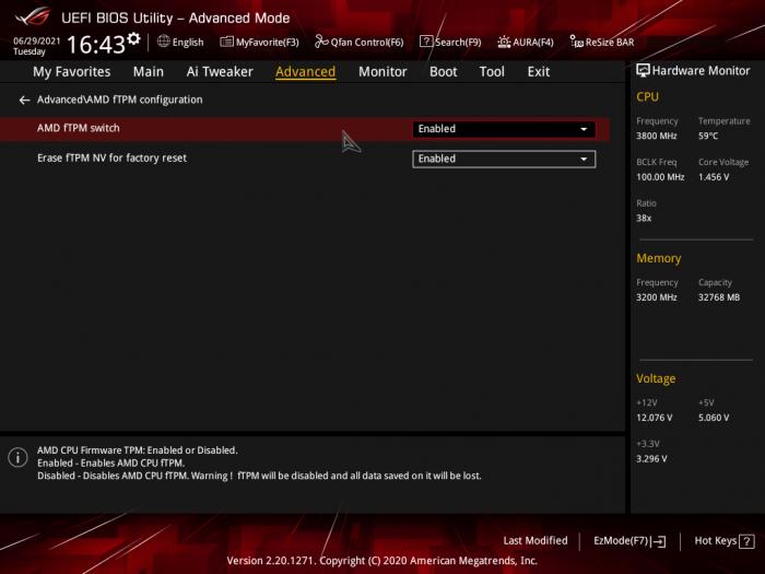 fTPM wird im Mainboard-UEFI eingeschaltet. (Bild: Golem.de)