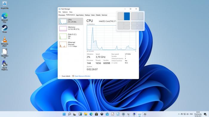 Die neue Fensterverwaltung ist hilfreich. (Screenshot: Oliver Nickel/Golem.de)