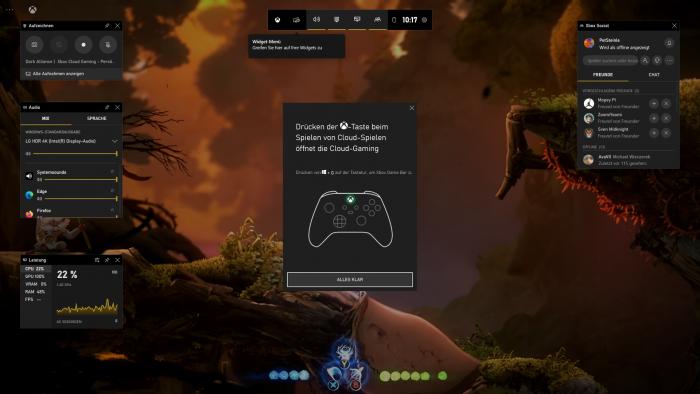 Beim Druck auf das Xbox-Logo am Gamepad erscheint bei der PC-Version von Xcloud dieses Overlay. (Bild: Microsoft/Screenshot: Golem.de)