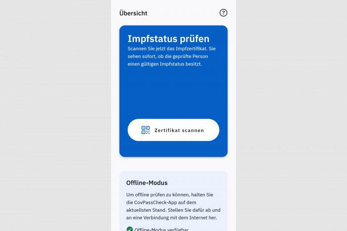 Mit der App Covpass-Check lassen sich digitale Impfnachweise überprüfen. (Screenshot: Golem.de)
