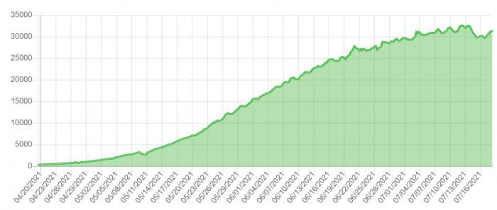 Die Größe des Chia-Netzwerks ist in den vergangenen Monaten deutlich angestiegen. (Quelle: www.chiaexplorer.com / Screenshot: Dirk Koller)