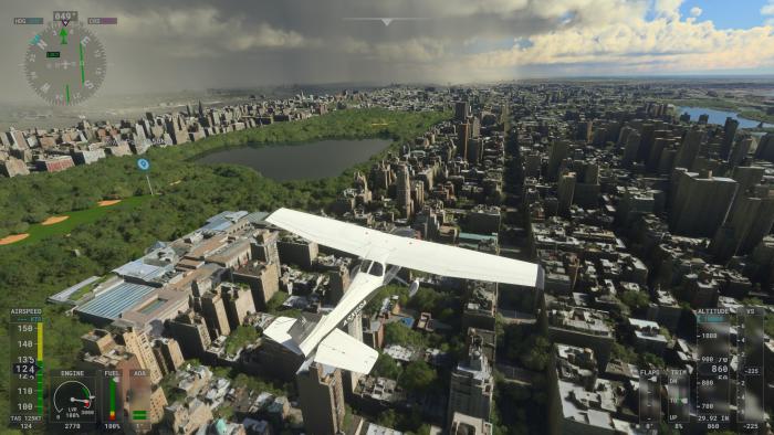 Mit einem Kleinflugzeug erkunden wir New York von oben. (Bild: Microsoft/Screenshot: Golem.de)