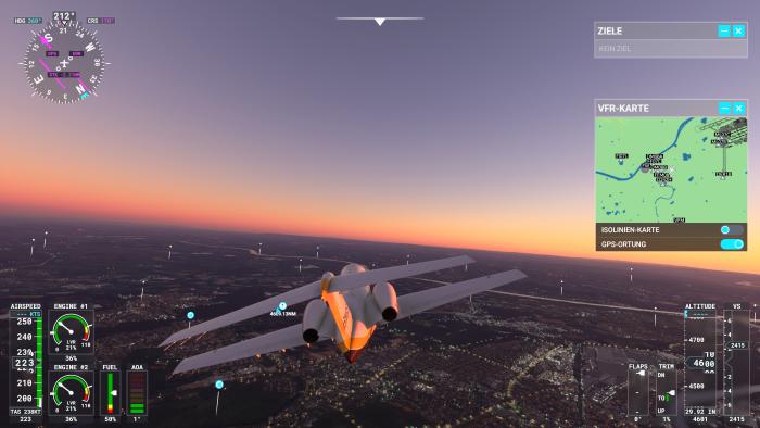 Kapitän Steinlechner auf dem Flug von Frankfurt nach Südafrika. (Bild: Microsoft/Screenshot: Golem.de)