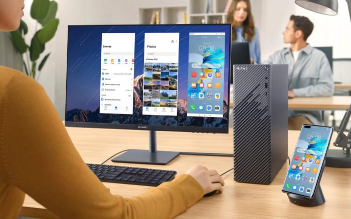 MateStation S neben 24-Zoll-Display (Bild: Huawei)