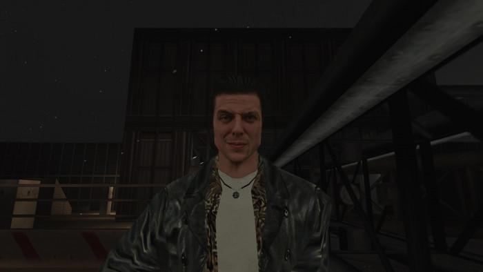 Falten dank Schattierung: Obwohl Max Payne aus kaum mehr Polygonen besteht als andere Actionhelden der Jahrtausendwende, sieht er aufgrund der sehr gut gestalteten Texturen viel plastischer aus. Der Screenshot stammt zwar aus einer gepatchten Version mit hochauflösenden Grafiken, das Original von 2001 sieht jedoch nur unwesentlich schlechter aus. (Bild: Remedy Entertainment / Screenshot: Medienagentur Plassma)