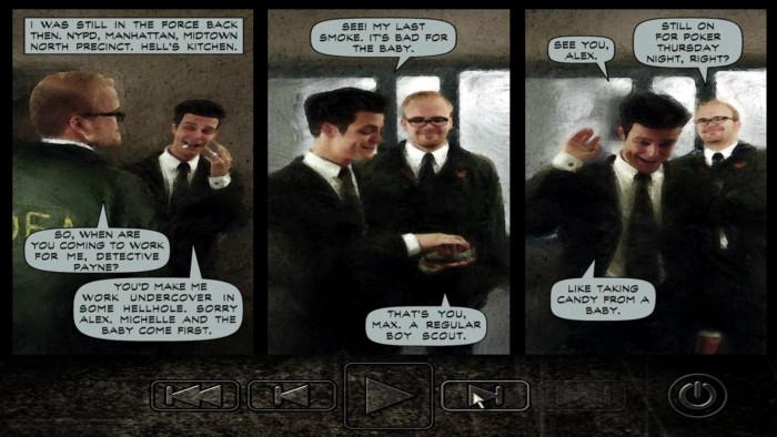 Ein lachender Max Payne aus unbeschwerten Zeiten: Das kurze Intro zeigt schonungslos den Fall vom lebenslustigen Polizisten zum seelischen Wrack. (Bild: Remedy Entertainment / Screenshot: Medienagentur Plassma)