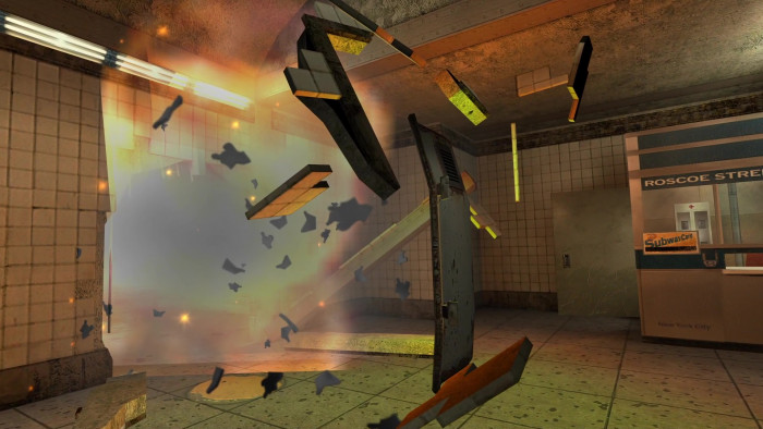 Besondere Ereignisse wie diese in die Luft gesprengte Tür sind zwar selten, dafür grafisch sehr ansprechend gestaltet. (Bild: Remedy Entertainment / Screenshot: Medienagentur Plassma)