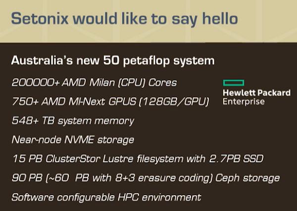Setonix-Supercomputer im Überblick (Bild: HPC Wire via ISC 2021)