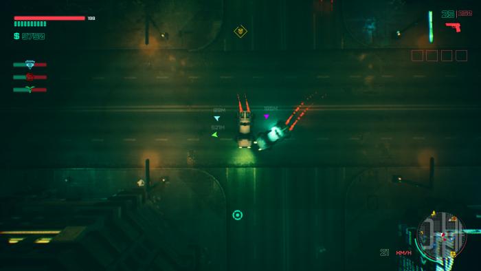 Wie in GTA 2 sehen wir die Action in Glitchpunk immer von oben. (Bild: Daedalic Entertainment / Screenshot: Golem.de)