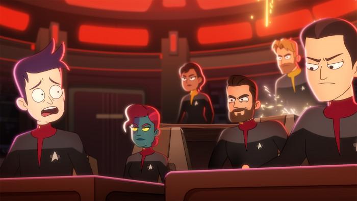Ensign Boimler ist zunächst auf der USS Titan stationiert, die vom draufgängerischen Will Riker kommandiert wird. (Bild: CBS)