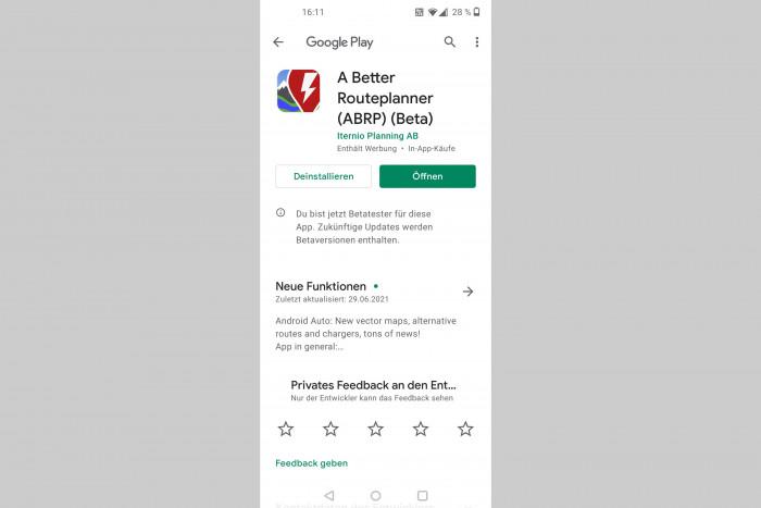 Das ist mit Apps wie A Better Route Planner (ABRP) möglich, die per Android Auto integriert werden können. (Screenshot: Friedhelm Greis/Golem.de)