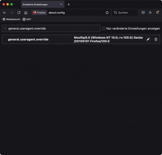 User-Agent Firefox/100.0 einstellen (Screenshot: Andreas Donath)
