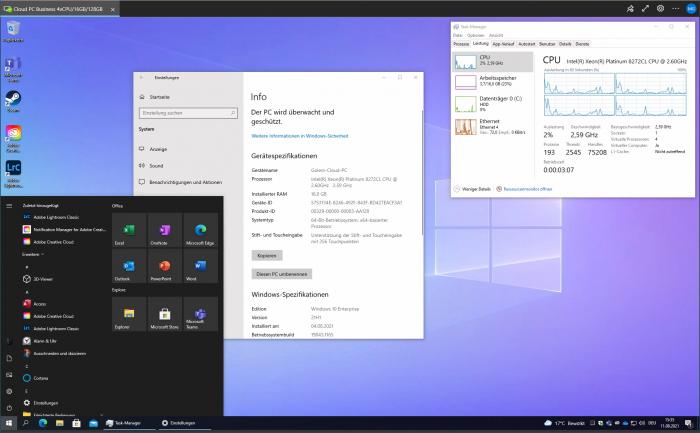 Windows 365 mit Systeminformationen und Taskmanager (Screenshot: Golem.de)