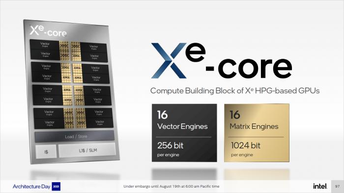 Alchemist nutzt Xe-Cores mit Matrix- und Vector-Einheiten. (Bild: Intel)