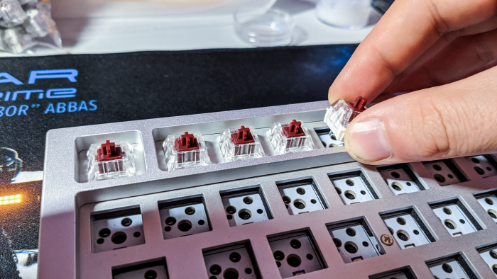 Das Einsetzen der Switches geht auch ohne Werkzeug schnell und leicht. (Bild: Oliver Nickel/Golem.de)