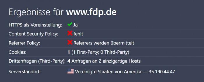 Die FDP nutzt Google Shield, um ihre Seiten gegen DDoS-Attacken zu schützen. (Grafik: Christiane Schulzki-Haddouti)