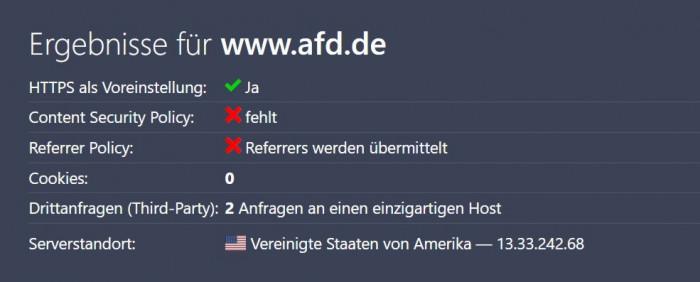 Die AfD nutzt auch Server in den USA für ihre Webseiten. (Grafik: Christiane Schulzki-Haddouti)