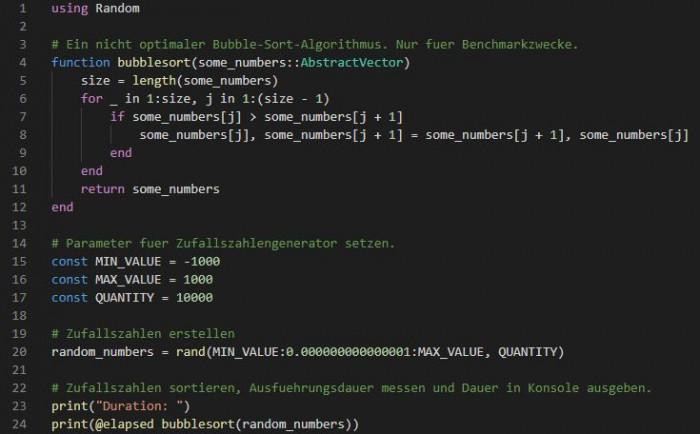 Bubble-Sort-Benchmark in Julia Version 1.6.2 (Bild: Miroslav Stimac)