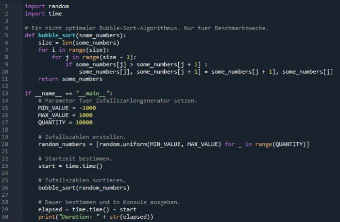 Bubble-Sort-Benchmark in Python Version 3.8.11 (Bild: Miroslav Stimac)