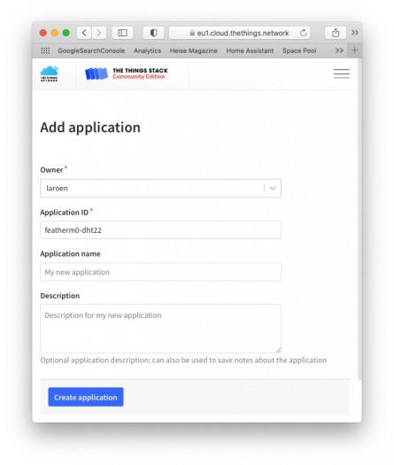 Zufügen einer Application in der Things-Konsole (Bild: Dirk Koller)