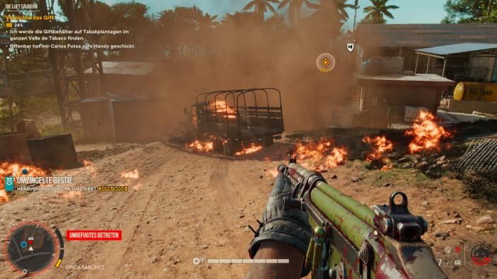 In Kämpfen gibt es oft viele Explosionen und Flammenbälle. (Bild: Ubisoft/Screenshot: Golem.de)