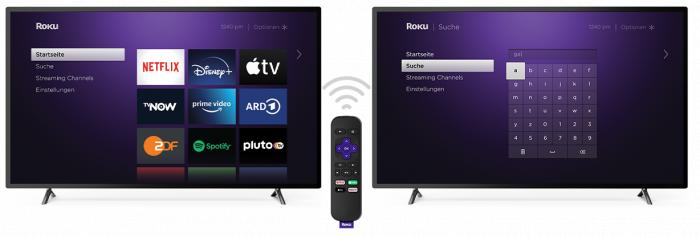 Roku-Startbildschirm mit Sucheingabe (Bild: Roku)