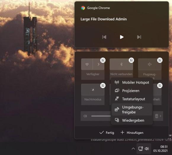 Die Schnelleinstellungen können angepasst werden. (Screenshot: Oliver Nickel/Golem.de)